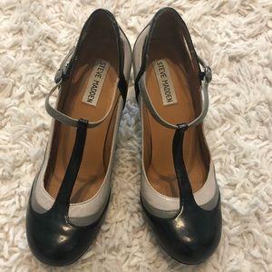 Steve Madden T-Strap Heels, black and grey color